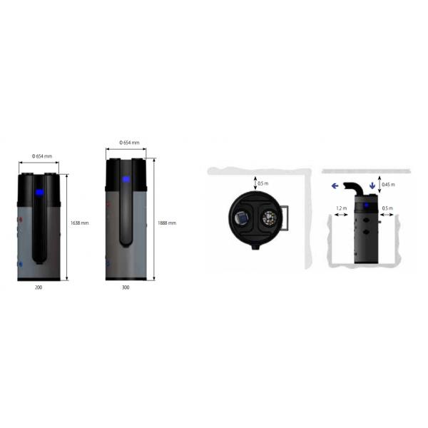Calido 300-D термопомпен бойлер с две серпентини, опция за соларни панели и електрически нагревател