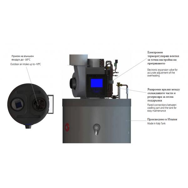 Calido 200-D термопомпен бойлер с две серпентини, опция за соларни панели и електрически нагревател